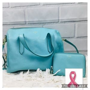 Fossil Sydney Satchel in Seaglass with Wallet